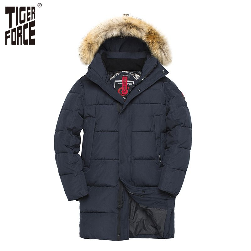 TIGER KRAFT Parka Männer Winter Jacke Männer Gepolsterte Warme Mantel mit Künstliche Pelz Kapuze Dicken Outwear Wasserdichte Männliche Snowjacket