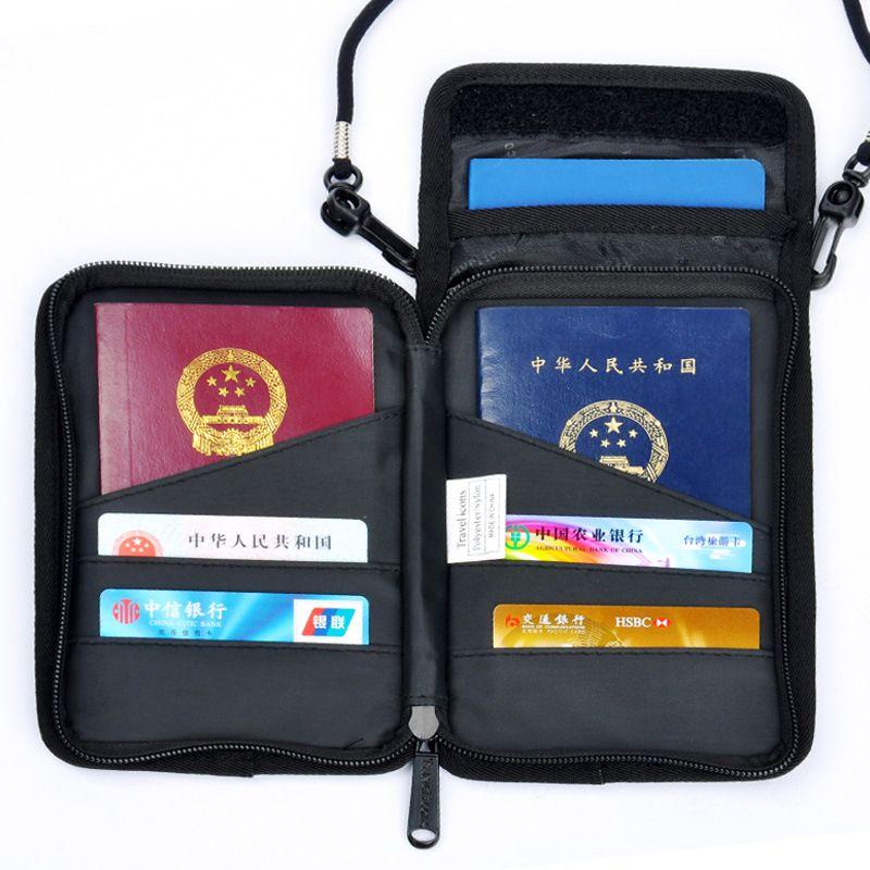 RFID Blocking Traveling Multifunction Neck Stash Pouch Passport Holder ID Card Bag Travel Wallet for Men & Women