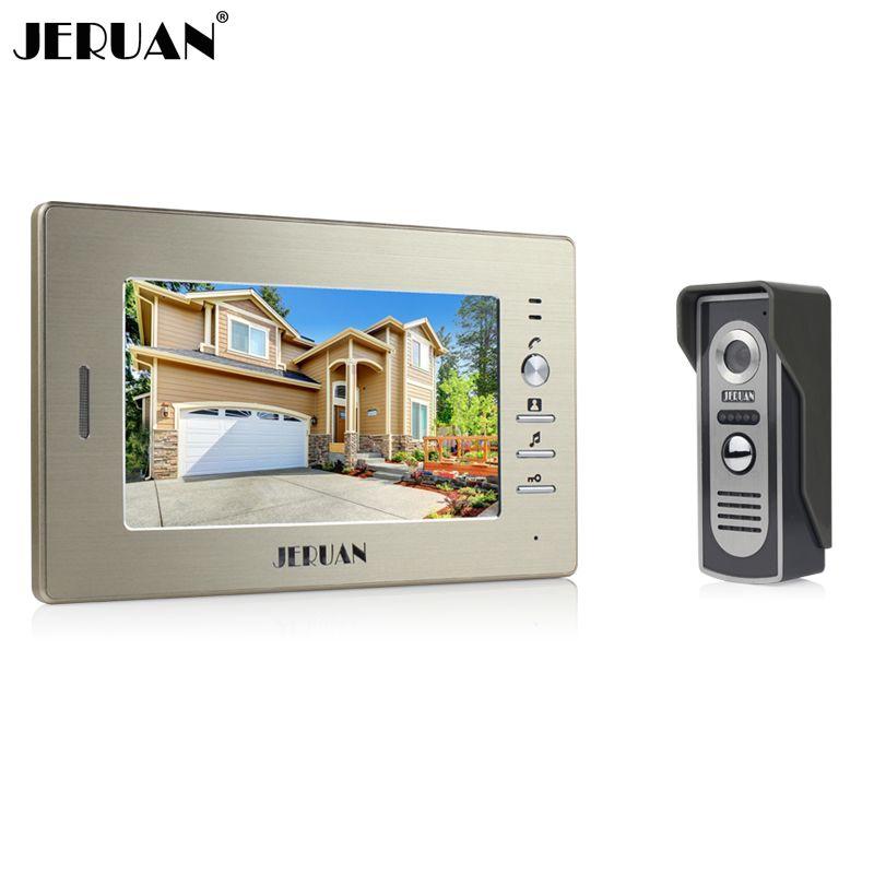 JERUAN Brand New 7 inch color screen video doorphone sperakerphone intercom system 1 monitor + 700TVL COMS camera  FREE SHIPPING