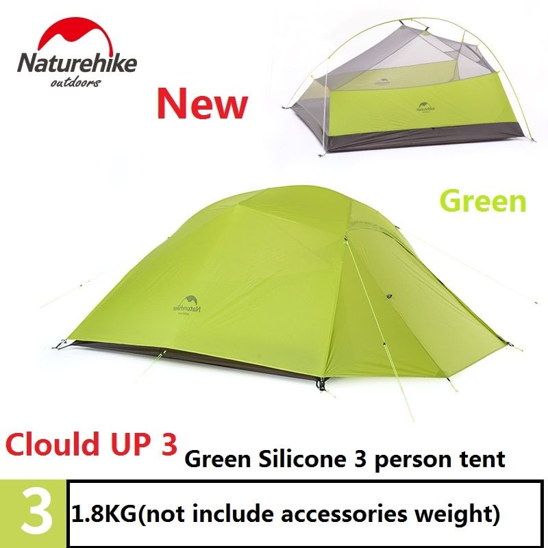DHL free shipping Brand NatureHike factory sell tent 1.8kg 3 Person 20D Silicone Fabric Double-layer Camping Tents Outdoor Tent