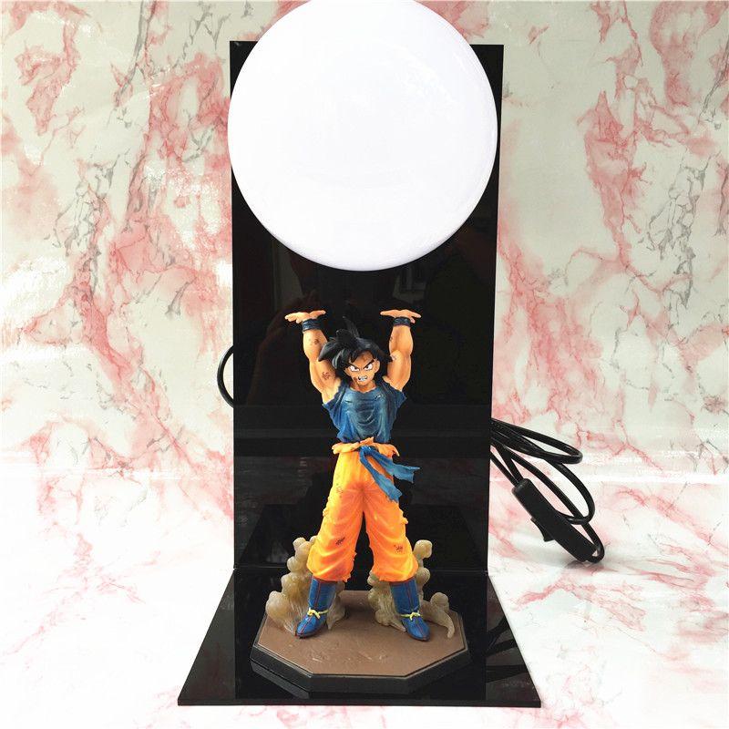 Anime Dragon Ball Goku Figures Super Saiyan LED Spirit Bomb Goku table lamp PVC Dragon Ball Action Figure Collectible Model Toys