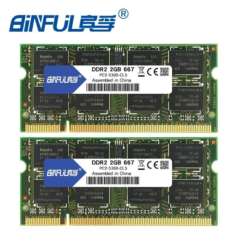 Binful DDR2 4 gb (2x2 gb) 667 mhz PC2-5300 800 mhz PC2-6400 Double canal pour ordinateur portable Mémoire memoria Ram