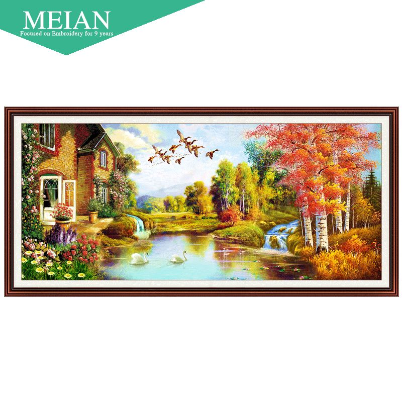 Meian, new 5D <font><b>cube</b></font> painted landscape diamond drill room Diamond Cross Stitch embroidered a diamond masonry home decoration