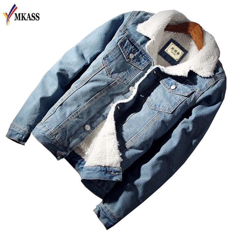 MKASS Men Jacket and Coat Trendy Warm <font><b>Fleece</b></font> Denim Jacket 2018 Winter Fashion Mens Jean Jacket Outwear Male Cowboy Plus Size 2XL