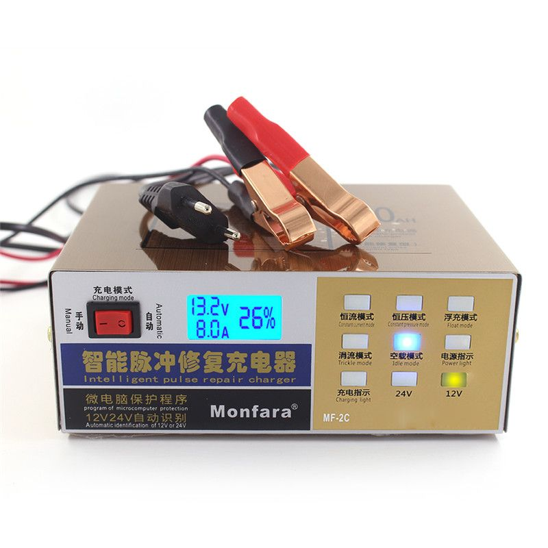 Car Battery Charger EU/US 12V/24V 100AH Automatic Battery Charger Pulse Repair Type With LED Display High Quality