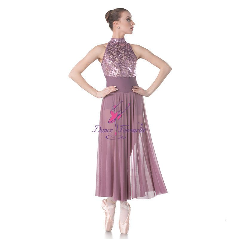 Sequin Lance Bodice with mesh Long Skirt Lyrical Dance Costumes Ballet Dress Stage & Performance Dance Costumes