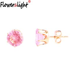 Simple Pink Purple Rose Red Yellow Square Heart Triangle Round Crystal Stud Earrings for Women Gifts Earring Jewelry PZ3635