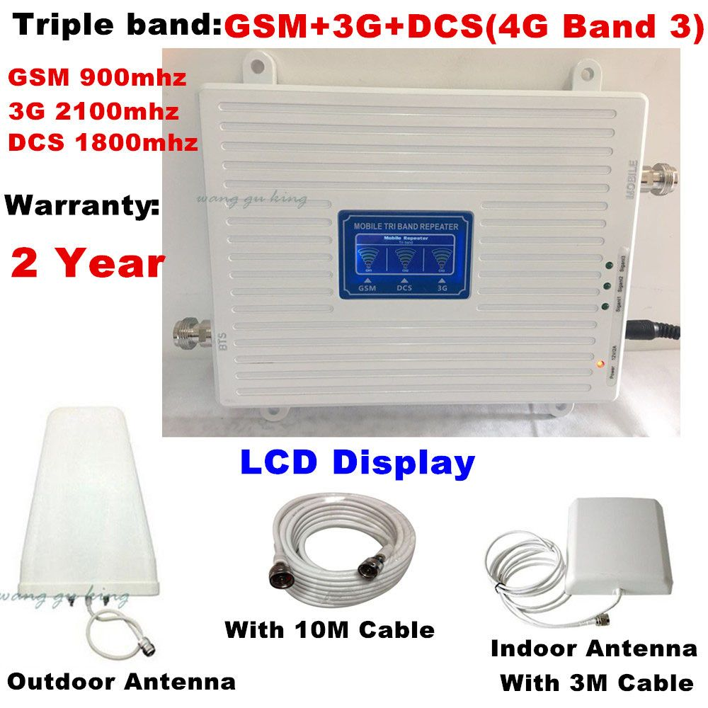 Full set 70dB 2G 3G 4G Tri Band Mobile Signal Booster GSM 900 DCS LTE 1800 WCDMA 2100 MHz Cell Phone Signal Repeater Amplifier