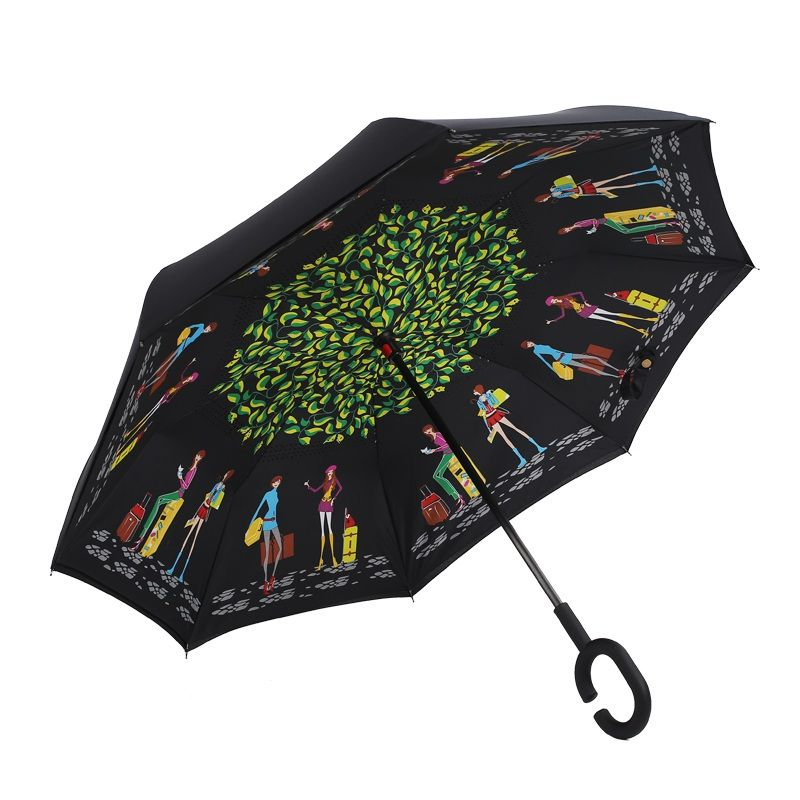 Inicio A Prueba de Viento Plegable Inverso Invertido Chuva Paraguas de Doble Capa Auto de Pie Dentro Fuera Lluvia C-gancho Manos