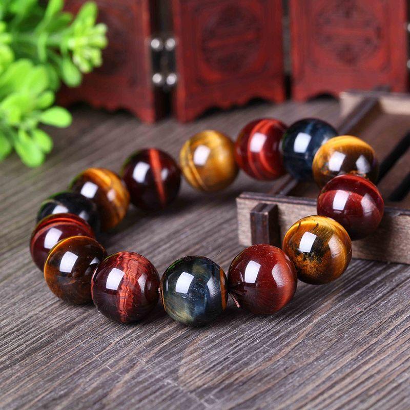 JoursNeige Couleur Naturelle Oeil de Tigre Pierre Bracelet 12-20mm Perles Cristal Bracelet pour Hommes Femmes Bracelet Chanceux Bijoux