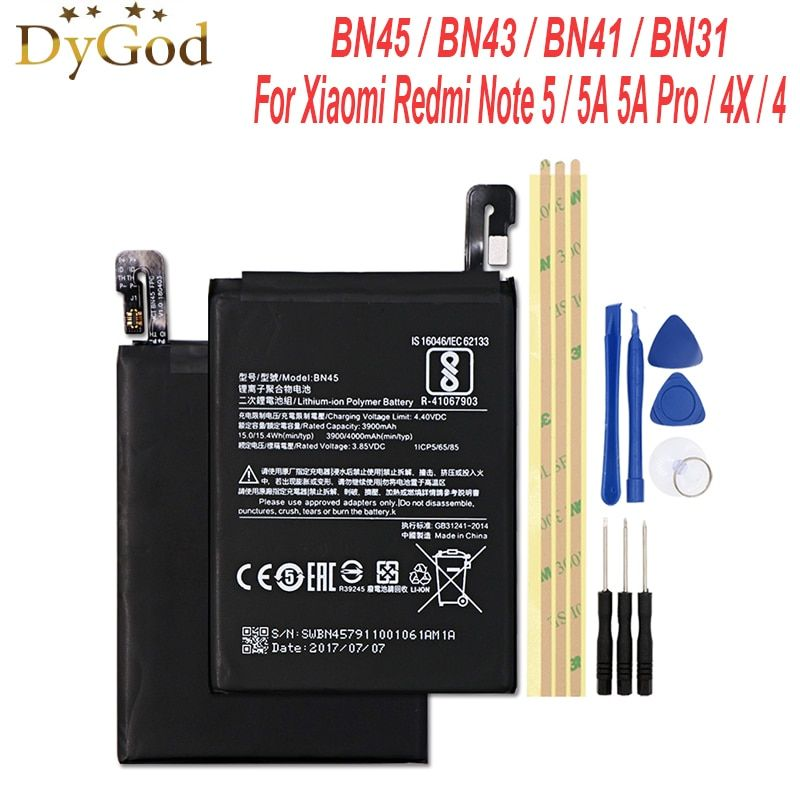 BN45 BN31 BN43 BN41 batterie pour Xiao mi rouge mi Note 5/Note 5A 5A Pro mi 5X A1/Note 4 4X global MTK Bateria accumulateur AKKU + outils