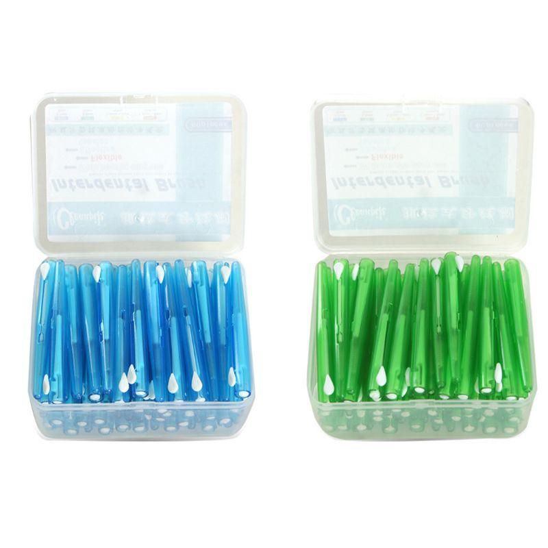 60 Unids Push-Pull Cepillo Interdental 0.7 MM productos de Limpieza Interdental Palillo de dientes Palillo de dientes de Alambre De Ortodoncia Dental cepillo de Dientes Higiene Bucal