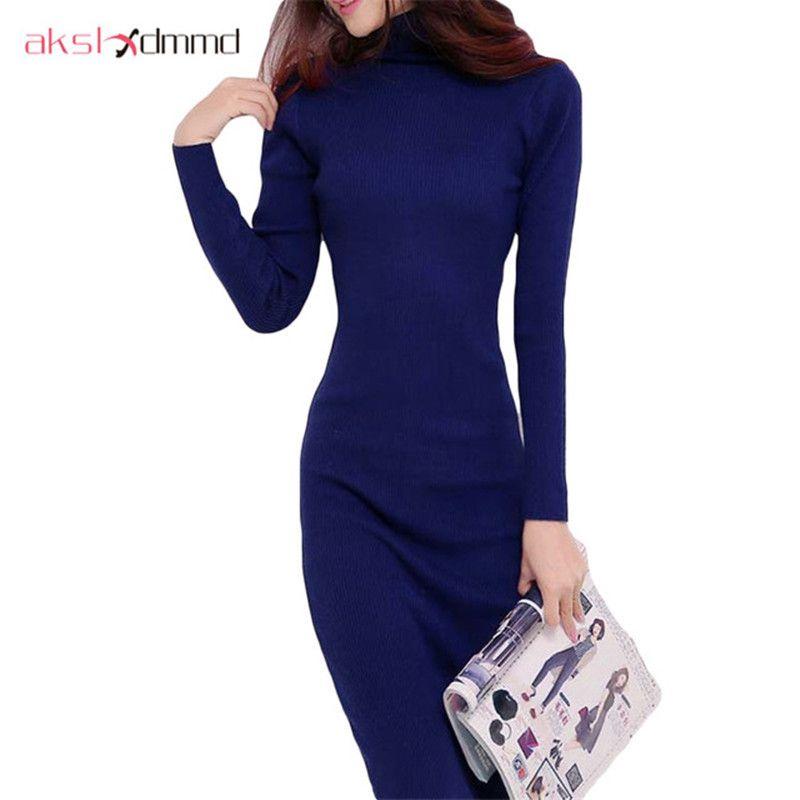 AKSLXDMMD 2019 Nouvelle robe pour femme Automne Et Hiver robe chandail Mince Col Roulé Long Tricoté Robe Sexy robe moulante robe D019