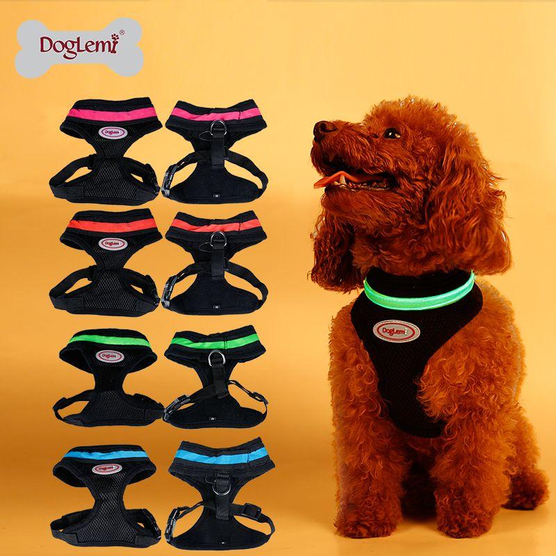 Clignotant LED harnais pour animaux de compagnie LED chien maille gilet harnais 4 couleurs 5 tailles