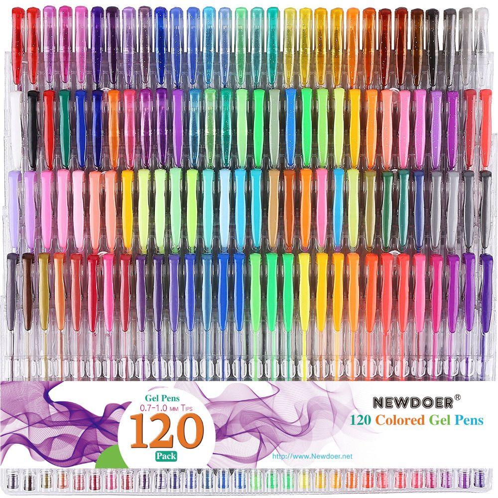 48/60/100/120 Couleurs Gel Stylos Set Recharges Gel Stylo à Encre Métallique Pastel Neon Glitter Croquis dessin Couleur Stylo Papeterie Scolaire