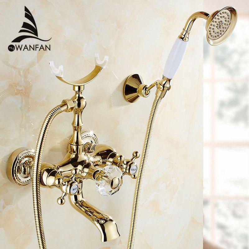 Смесители для ванны роскошный золотой латуни Ванная комната кран смесителя настенные ручной Насадки для душа комплект смеситель для душа Н...