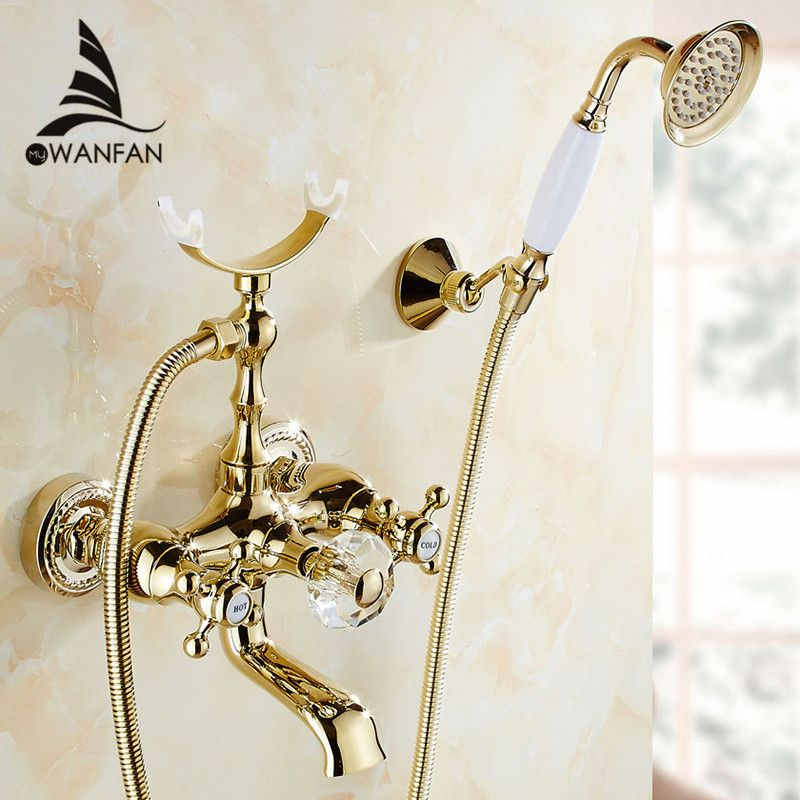 Bathtub Faucets Luxury Gold Brass Bathroom Faucet Mixer Tap Wall Mounted Hand Held Shower Head Kit Shower Faucet Sets HS-G018