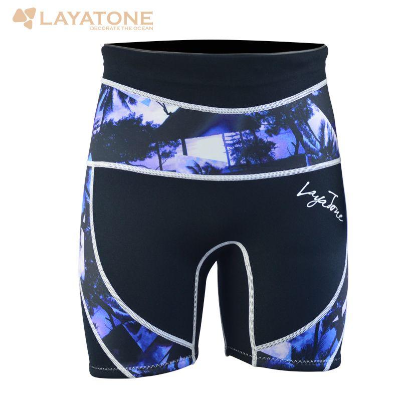 Layatone Wetsuit Short Pant For Men Diving Suit Neoprene Print Swimwear 3mm Diving Snorkeling Surf For Men B1610