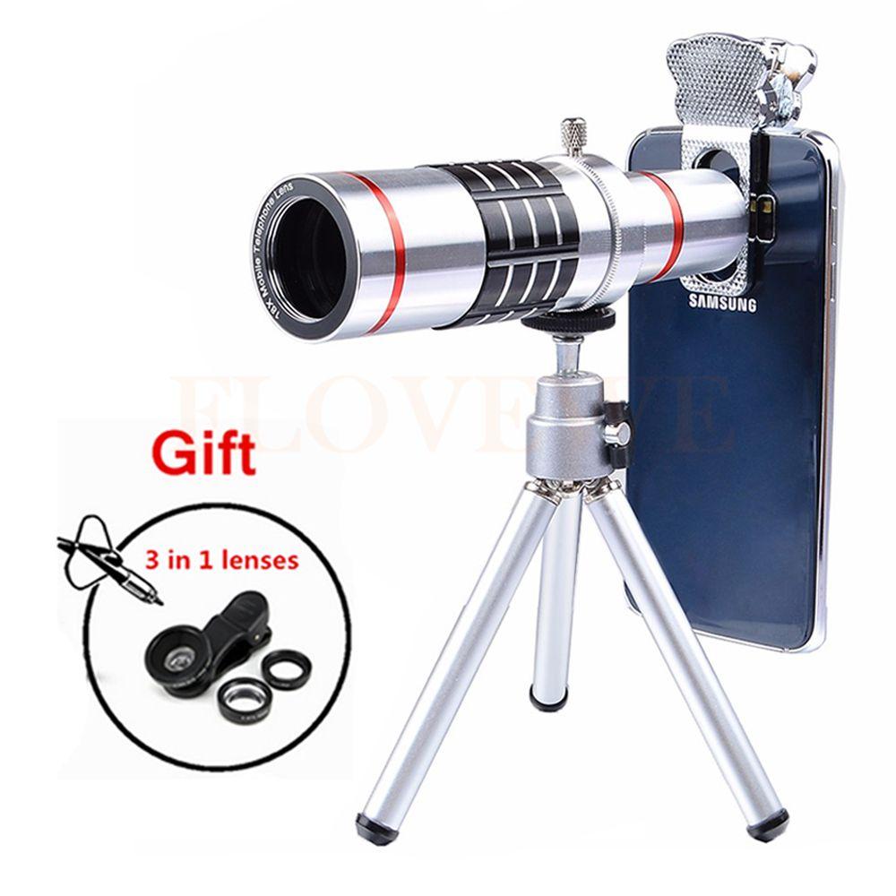 2017 Universal 18x Optical Telephoto Zoom Lens Telescope Microscope with Tripod Fisheye Wide Angle Macro lentes For Smartphone