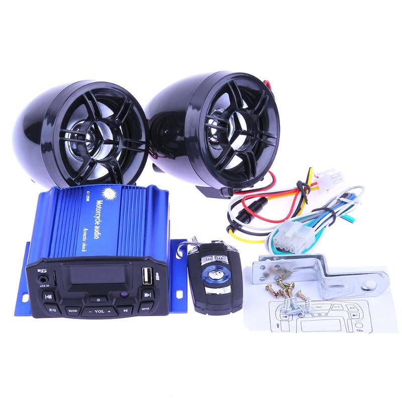 Waterproof LCD Motorcycle Bike Audio FM Radio USB/TF MP3 Player Moto Anti-thief Stereo Speakers Sound System w/ Remote Control