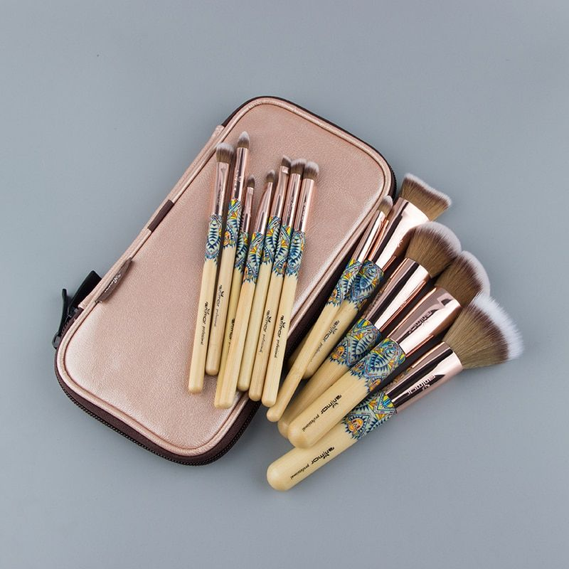 Anmor 12PCS Make Up Brush Bamboo Nylon Foundation Eye Shadow Concealer Makeup Brushes Tools With Pink Cosmetic Bag