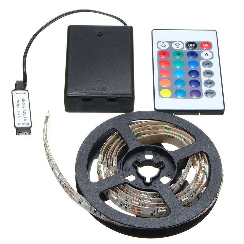 Versprechende Led-streifen RGB 5050 SMD Batterie Wasserdicht/Nicht Wasserdicht LED Streifen Lichter 30 50 100 150 200 cm Fernbedienung Control