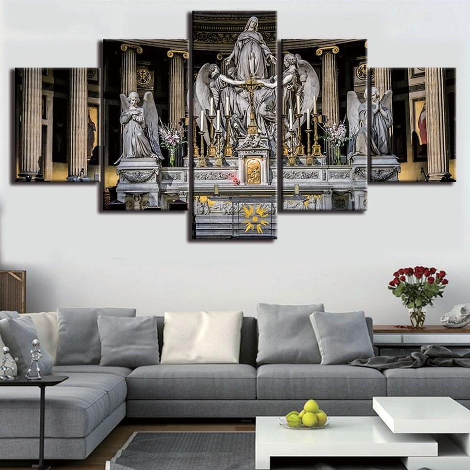 HD Printed Modern Painting On Canvas 5 Panels Jesus Christian Church Wall Art Pictures Home Decoration Posters Unframed