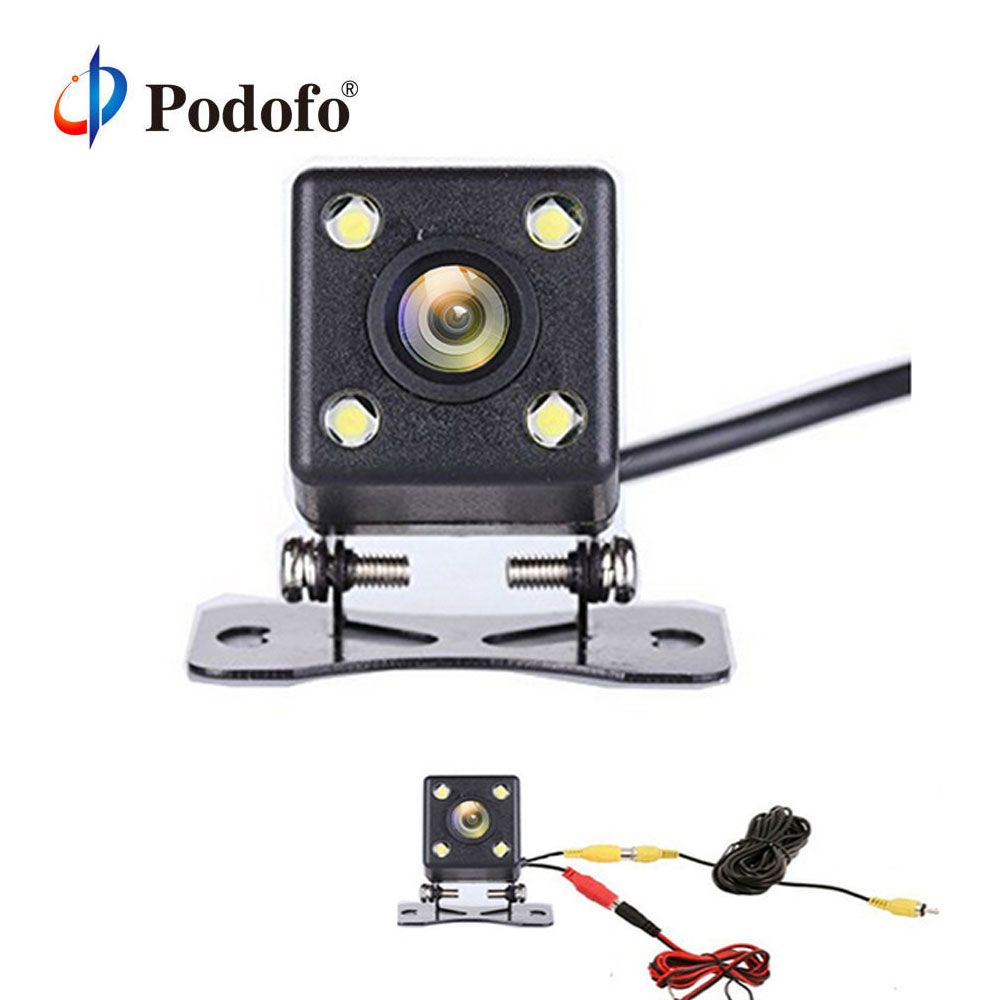 Podofo Car Rear View Camera IP68 Waterproof 4 led Night Vision Wide View Angle Back Reverse Parking Assistance Backup Cameras