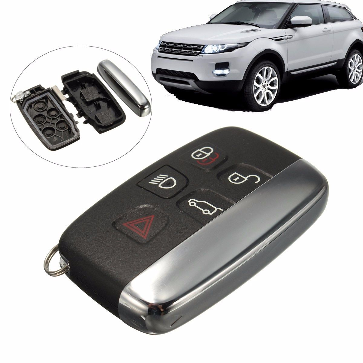 5 Button Remote FOB Key Case Cover Shell For LAND ROVER LR4 Range Rover Sport Evoque