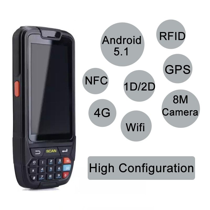 Android 7.0 Handheld pos terminal with NFC UHF RFID reader memory 4 inch large screen Data Terminal 1D,2D Laser Barcode Scanner