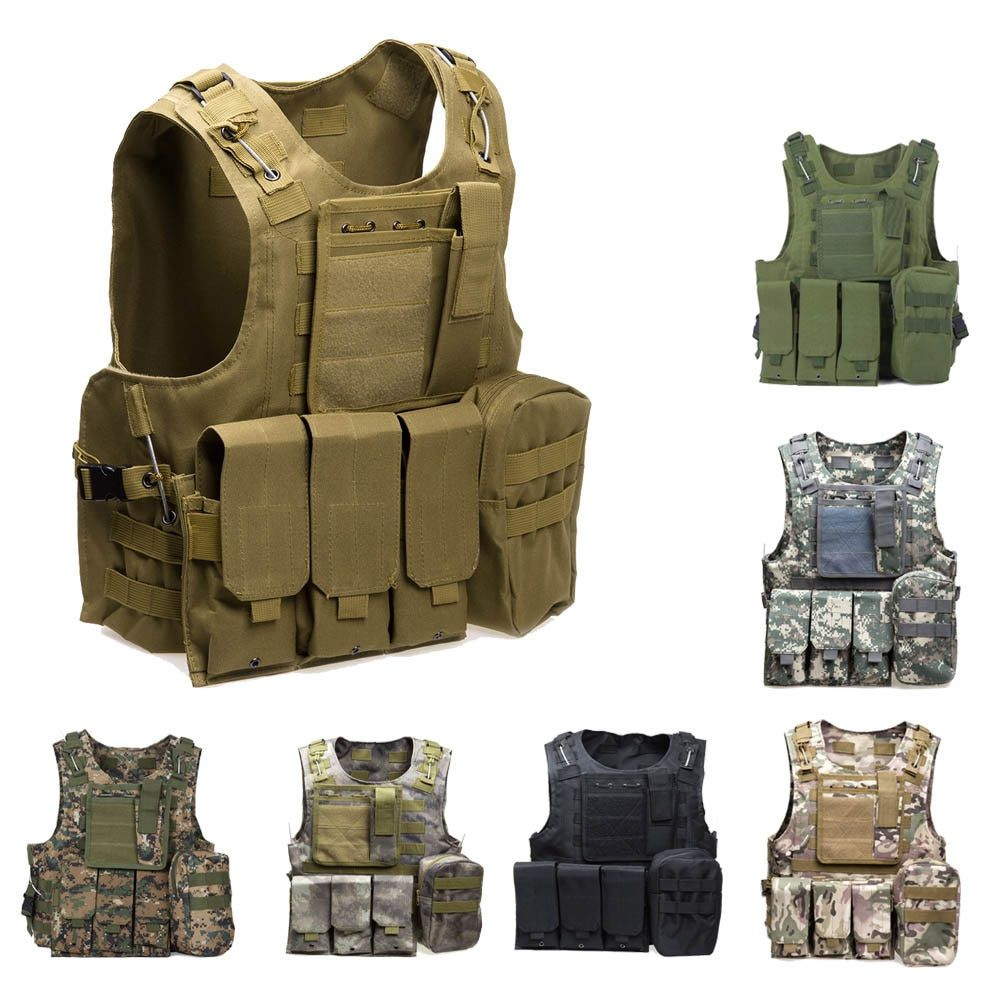 Military Tactical Vest Army Airsoft Molle Vest Combat Hunting Vest with Pouch Assault Plate Carrier CS Outdoor Jungle Equipment