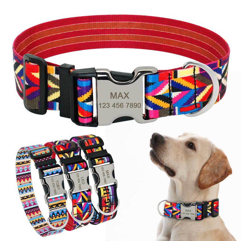 Dog Collar Customized Nylon Pet Collar Nameplate ID Tag Collars Free Engraved for Medium Large Dogs Pitbull