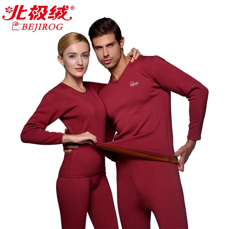 Winter Couples Thermal Underwear Thick Long Johns Male Female Tops+Pants Set Men V-Neck Underwear Solid Warm Velvet Indoor Suits