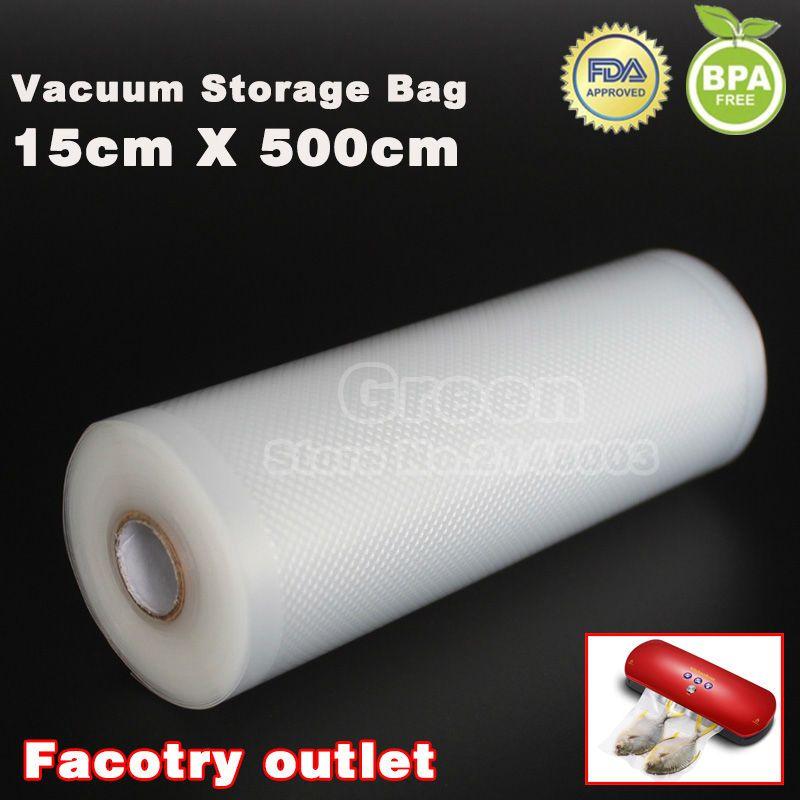 15 cm x 500 cm 1 Rouleau Vide sac de nourriture pour la cuisine sacs de rangement sous vide emballage film garder au frais jusqu'à 6x plus