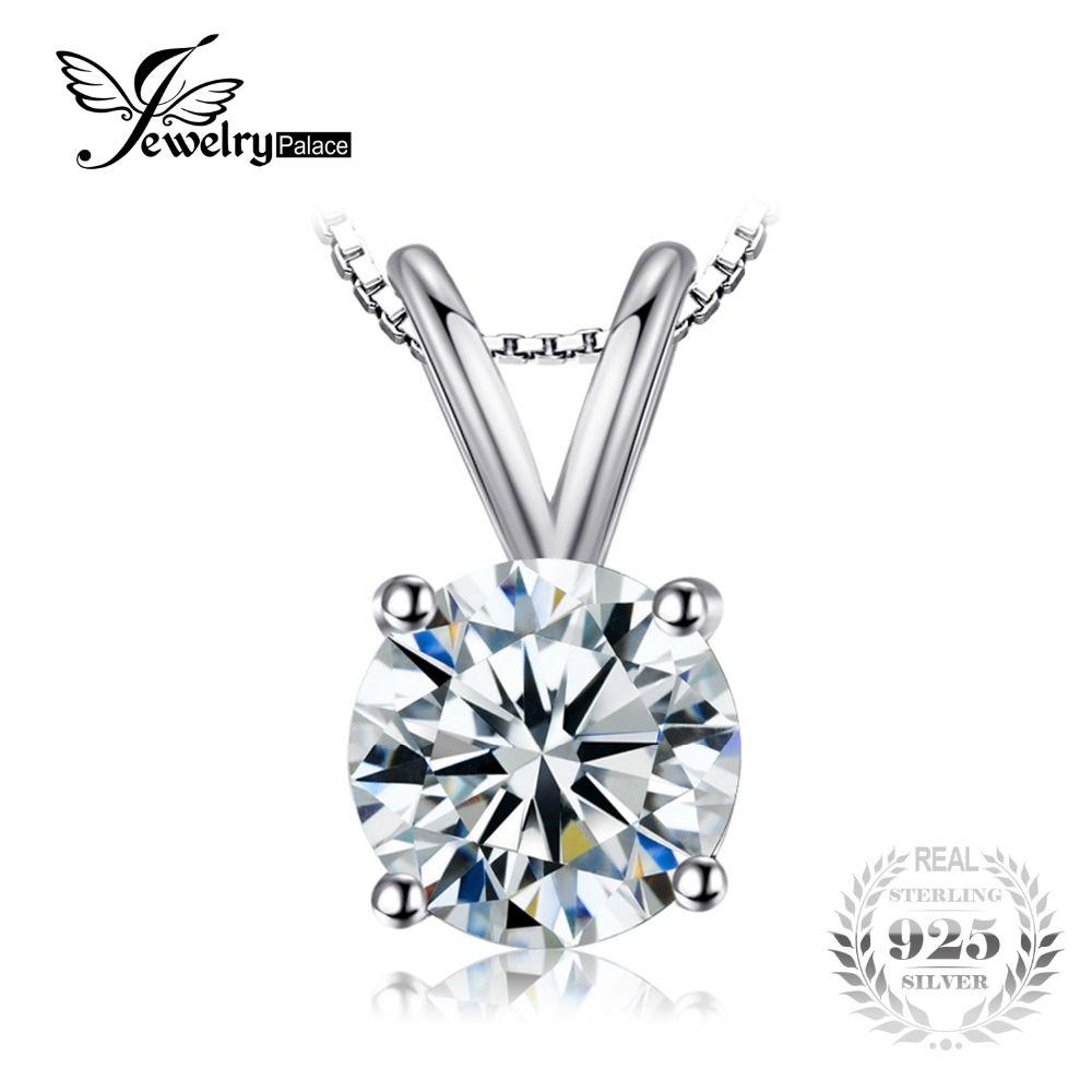 JewelryPalace Clásico Solitario 1ct Redonda Colgante de Plata de Ley 925 Joyería De La Mujer Accesorios No Incluye una Cadena