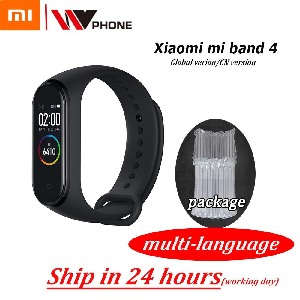 Original XiaoMi Mi Band 4 Bracelet intelligent de remise en forme Bracelet MiBand Band 4 fréquence cardiaque grand écran tactile Message Smartband