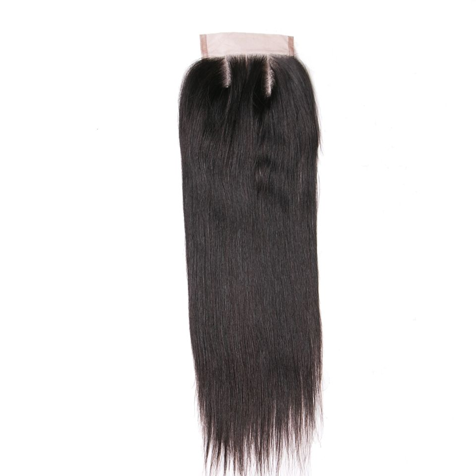 Queen like Human Hair Products Three Part Closure 130% Density Swiss Lace Remy Hair Natural Color Straight Lace Closure