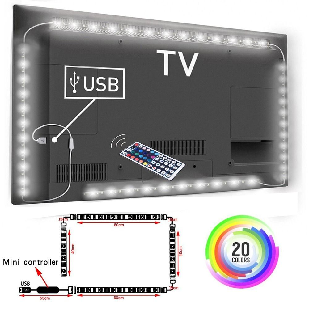 5V 1M/2M/3M Nowaterproof RGB 5050SMD Led Strip Can Change Color For TV Background Lighting With USB IR Controller