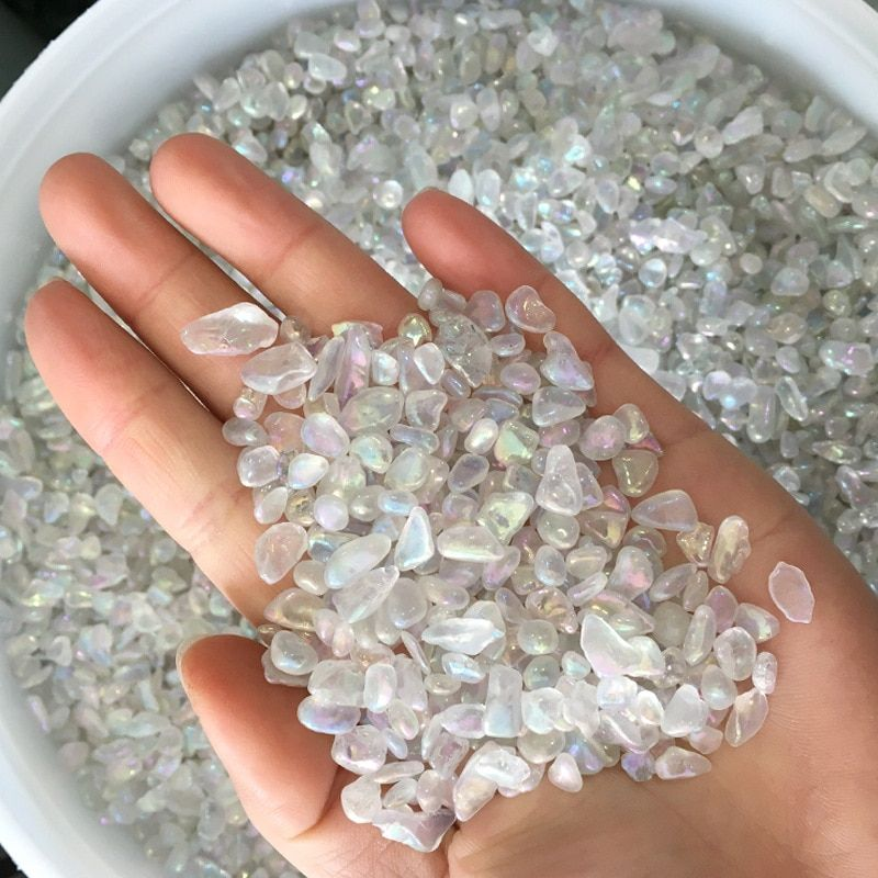 1kg Natural White Shining Opal Polished Gravel Rock Crystal Quartz Mineral Specimen Fish Tank Garden Flowerpot Decoration Stone
