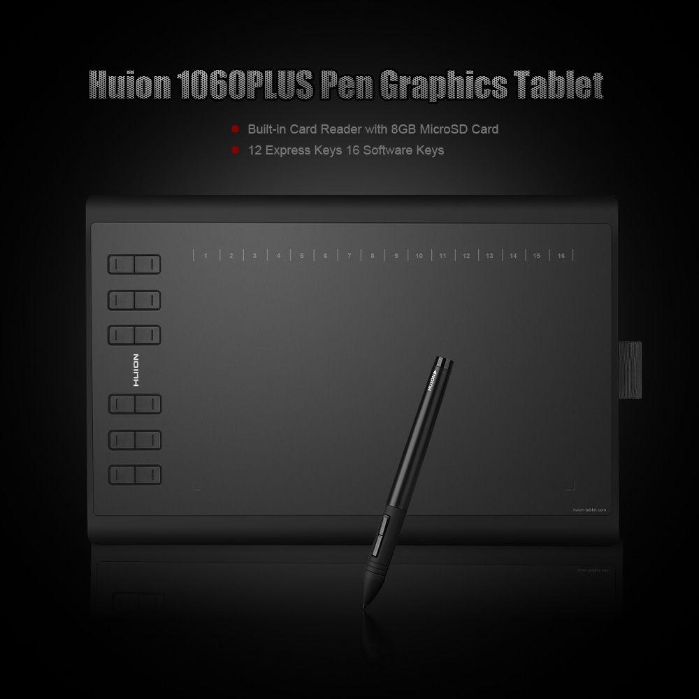 HUION 1060 Plus Art Numérique Graphique Dessin Tablet Conseil Numérique Tablet Tablet Grafica Tablet avec 8 GB Carte MicroSD