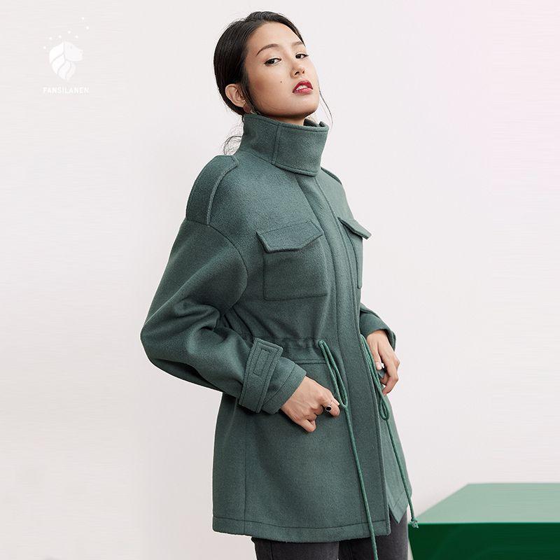 FANSILANEN 2018 New Arrival Fashion Autumn/Winter Casual Long Wool Cashmere Coat Woolen Solid Women Female Overcoat Z73103