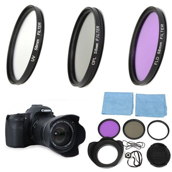 Kit de filtre polarisant circulaire UV FLD CPL 58mm + pare-soleil pour Canon EOS 1200D 750D rebelle T4i T3i pour T3 T2i T1i XT XS XSi