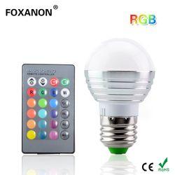 Foxanon E27 16 Цвета изменение 3 Вт 85-265 В Магия RGB светодио дный лампы этап DJ свет затемнения RGB лампы + 24key ИК-пульт дистанционного Управление освеще...