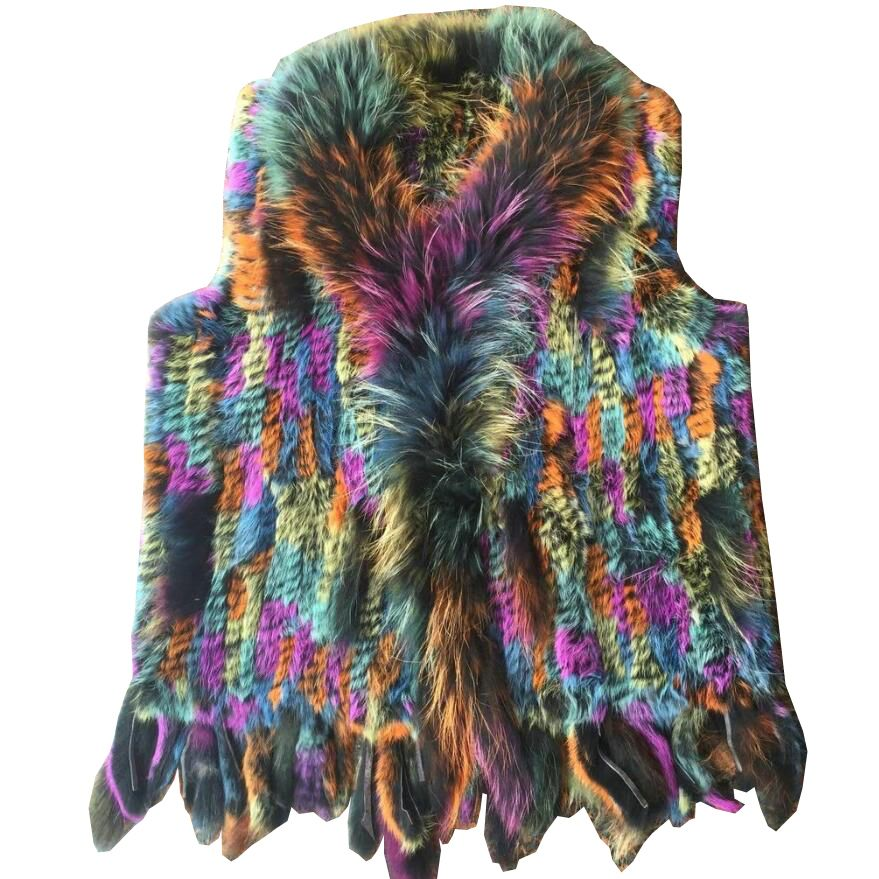 HARPPIHOP 2017 Autumn and winter Knitted rabbit sweater vest fur vest tassel rabbit fur vest hot Style Fashion fur gilets