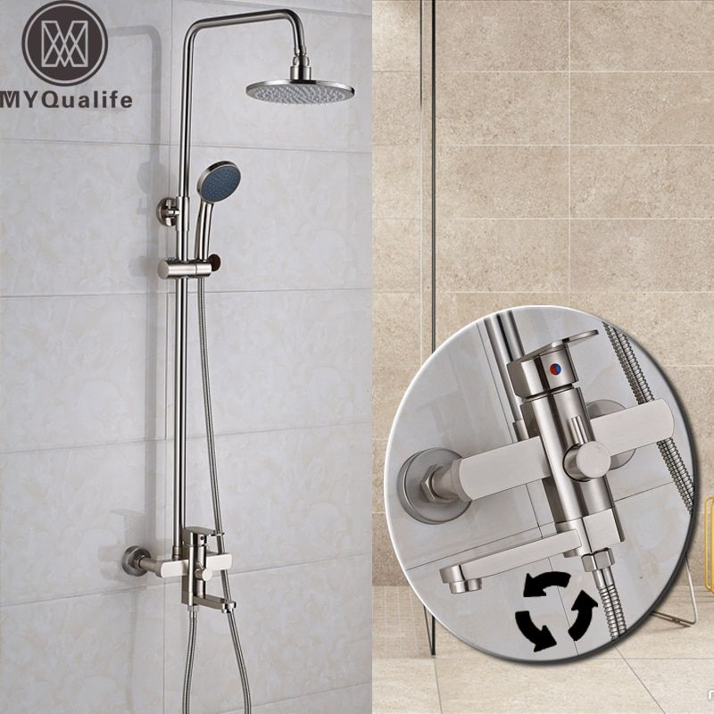 Nickel Brushed Shower Faucet Set Bathroom Wall Mounted Rinfall 8