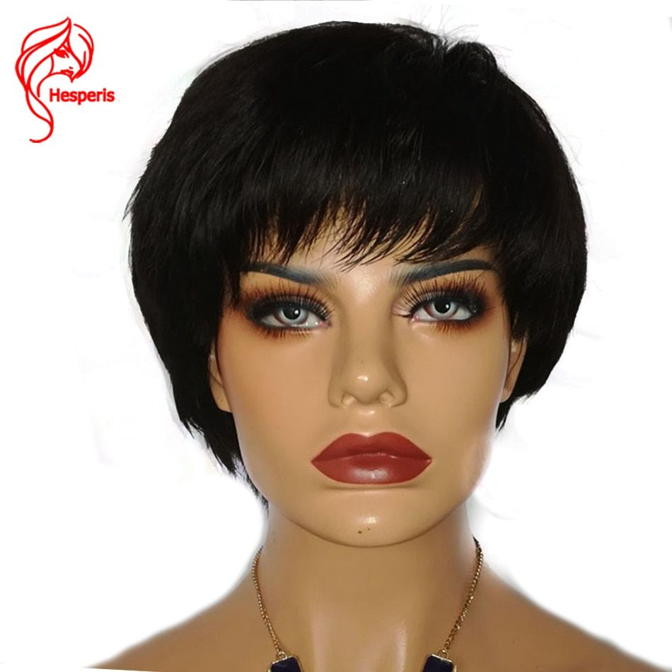 Hesperis Brazilian Hair Glueless Machine Made Pixie Cut Wigs 130 Density 1B color Medium Cap None Lace Human Hair Wigs