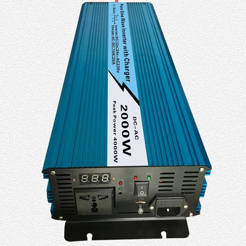 Continuous 2000W UPS Pure Sine Wave Inverter Input 12V/24V Output 220V/110V DC to AC Solar System Inverter with 20A/10A Charger
