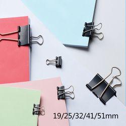 6 PCS Noir Métal Liant Clips 15/19/25/32/41/51mm Notes Lettre papier Clip Fournitures de Bureau Reliure Clip de Fixation Produit