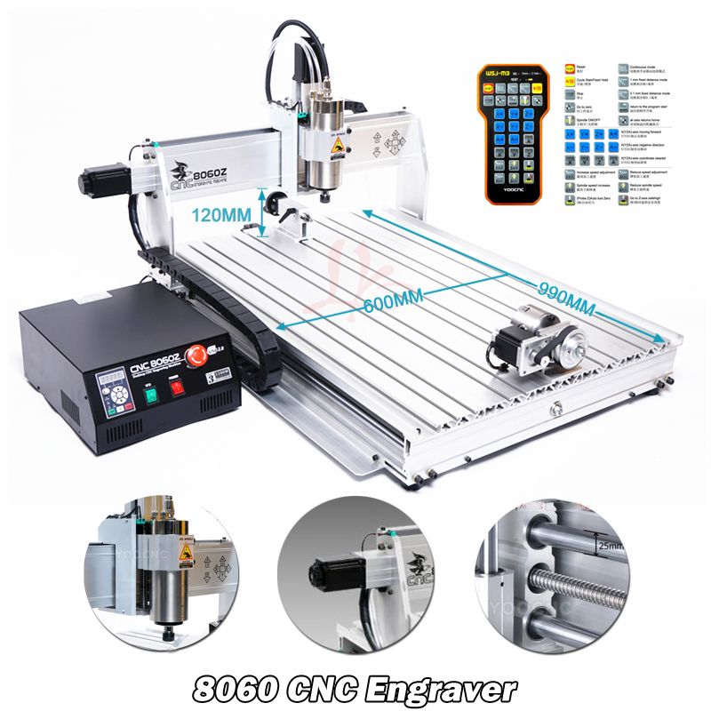 CNC Maschine 4 Achsen USB Port Mini CNC 8060 2200 W Spindel March3 ER20 Collet CNC Router Holzbearbeitung Metall Fräsen maschine Stecher