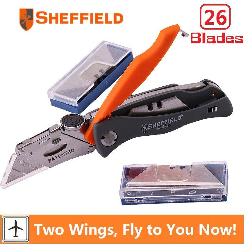 Sheffield couteau utilitaire pliant multifonctionnel poche camping couteau robuste avec 26 lames de couteau couteau à papier outil de coupe